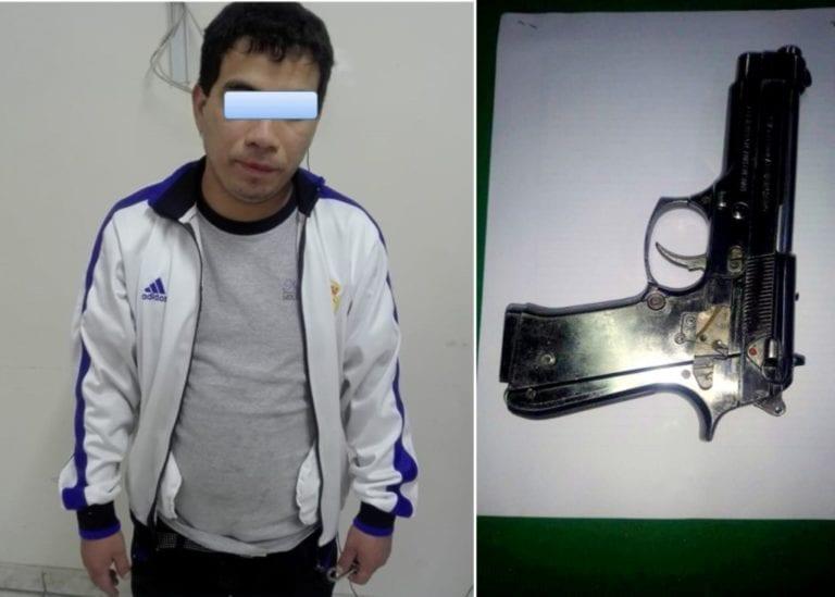 Sujeto es intervenido en posesión de una réplica de arma de fuego