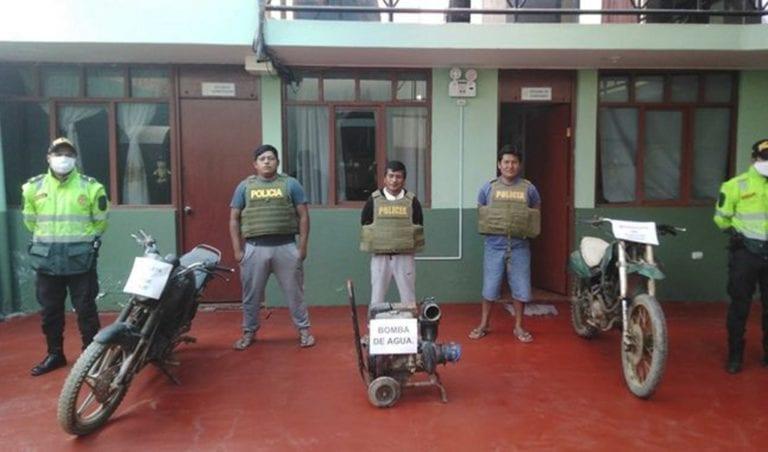 Caen tres ladrones de motobombas en Punta de Bombón