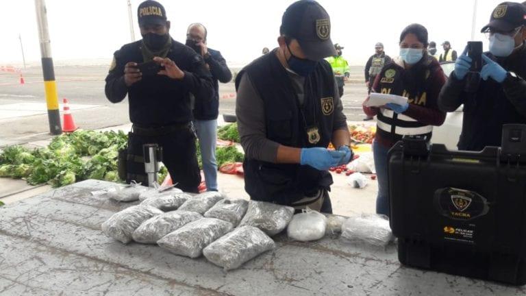 Sujeto es intervenido cuando transportaba droga dentro de saco de verduras