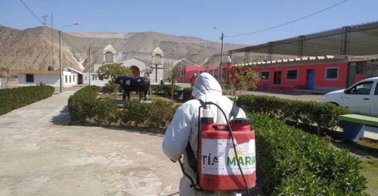 Tía María realiza campaña de desinfección en Valle Arriba, Pampa Blanca y Chucarapi